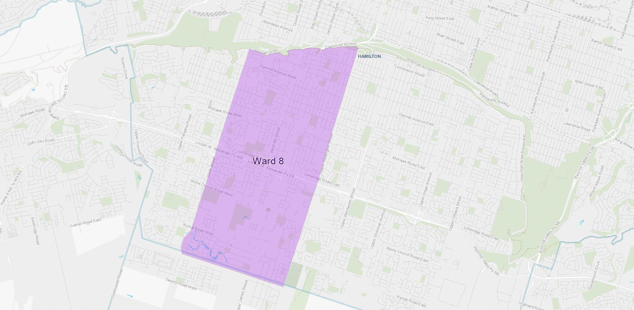 Ward 8 Hamilton West Central Mountain Map