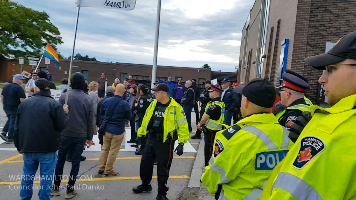 Protests Intolerance and Hate At Mohawk College Event