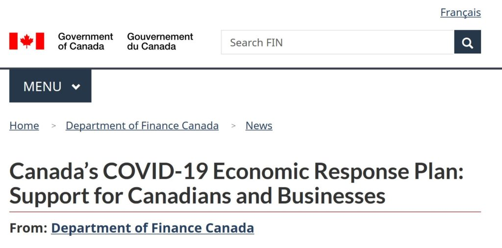 Government of Canada Support for Canadians & Business