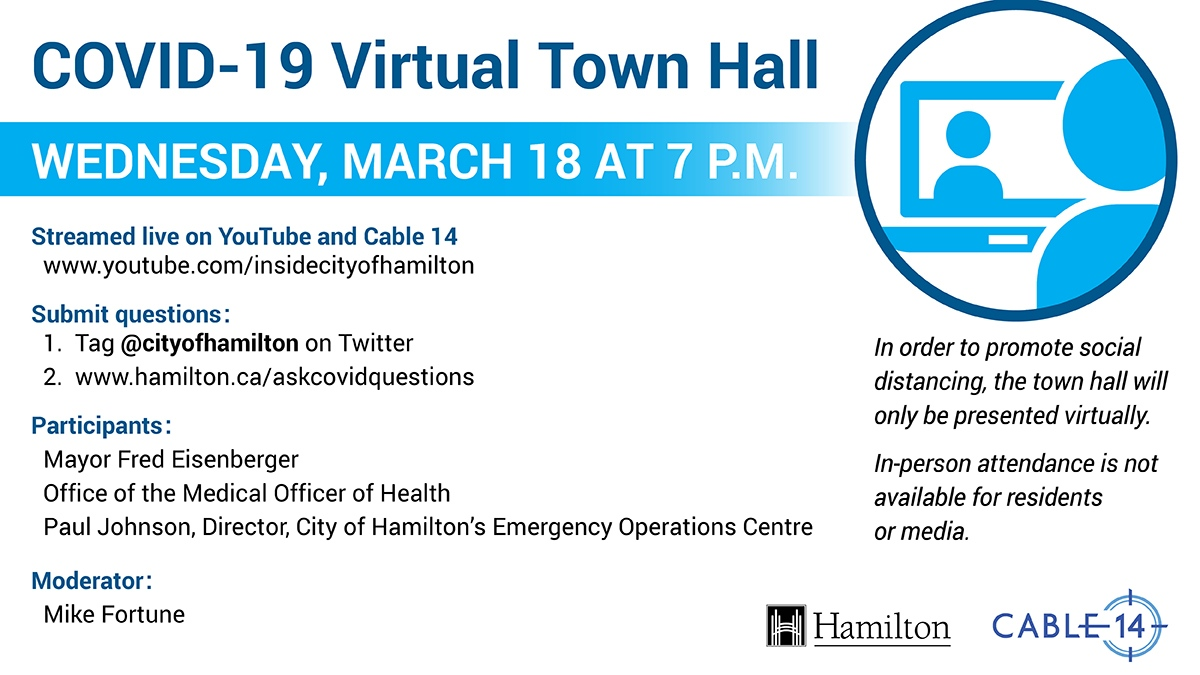 City of Hamilton Virtual Town Hall – Novel Corona Virus Q&A March 18, 7:00pm