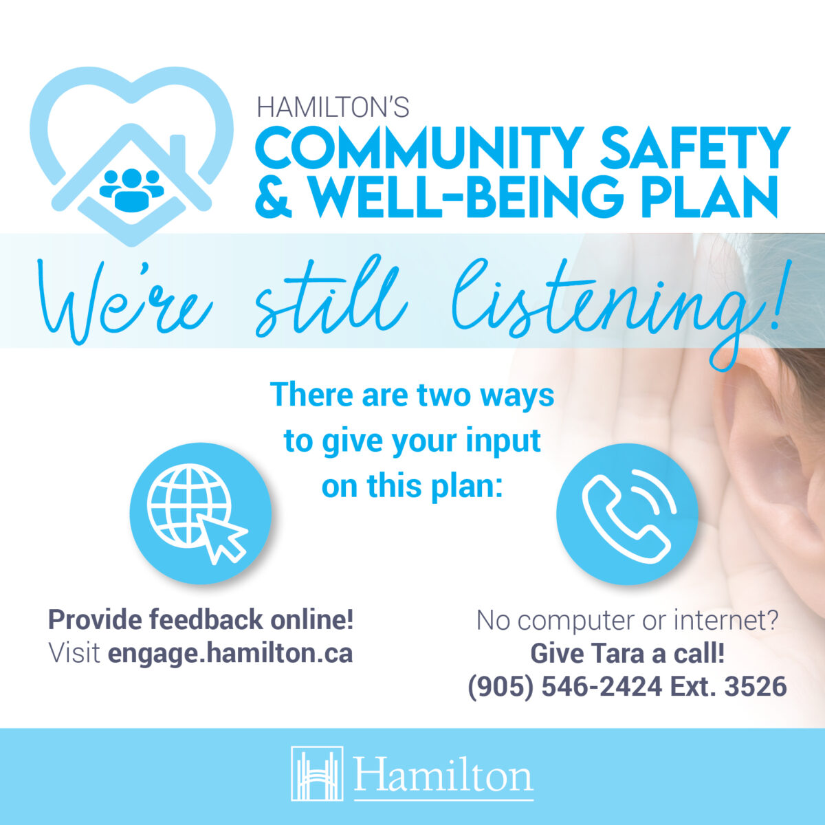 Have your say in the development of a Community Safety and Well-Being Plan for Hamilton