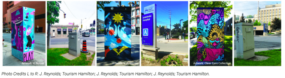 Art-wrapped traffic signal boxes honouring healthcare workers installed across Hamilton