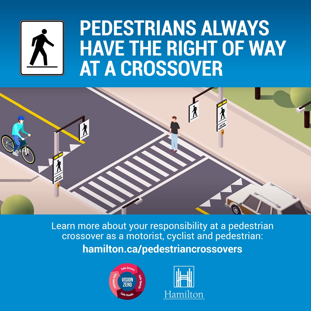 City sharing safety tips for pedestrian crossovers